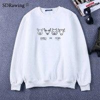 Cute Animals are friends print cotton Sweatshirts Vegan Shirt Clothing Women Unisex casual tops o neck Sweatshirts plus size