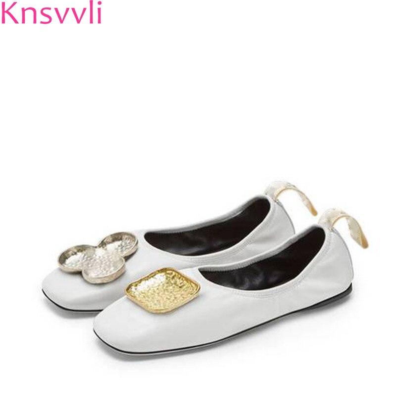 Knsvvli New Square toe Ballet Flat Shoes Women Genuine leather asymmetric flower metal decorate comfortable casual