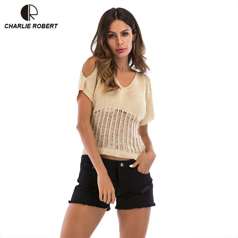 CR Fashion New Women Tops Tees V-neck Cotton T shirt 2018 Spring Autumn Short Sleeve Hallow Out Sexy Female Casual Tshirt
