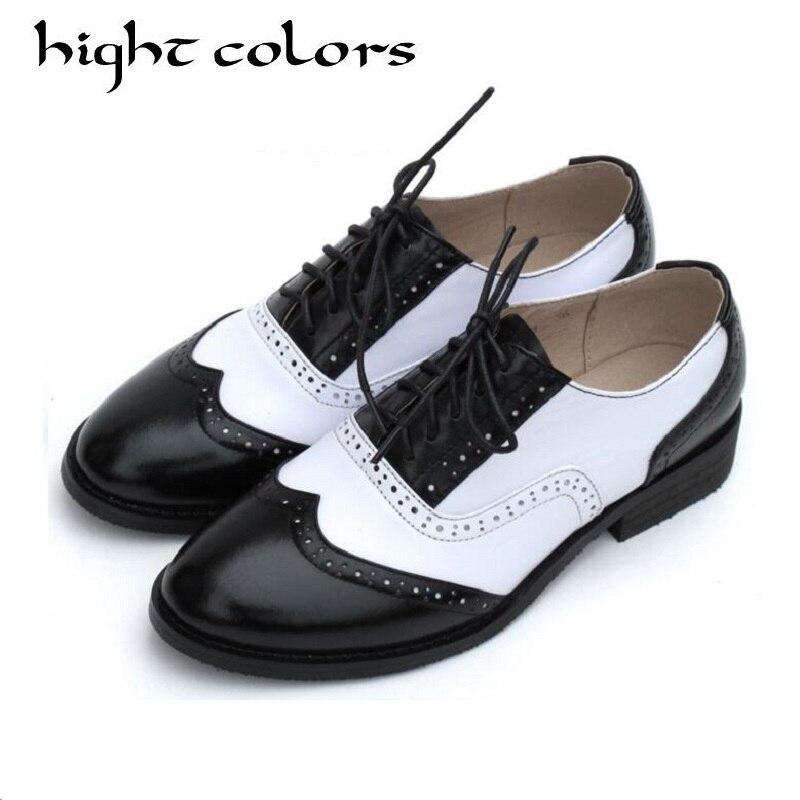 100% Wahr British Style Vintage Oxfords Schuhe Frauen Flachem Absatz Fashion Echtes Leder Brogue Schuhe Hochschule Wind Mischfarben Damen Wohnungen SorgfäLtig AusgewäHlte Materialien