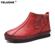 Handmade Autumn Winter Shoes Women Ankle Boots For Women Comfort Soft Leather Women Moccasins Flat Shoes Casual Ladies Shoes