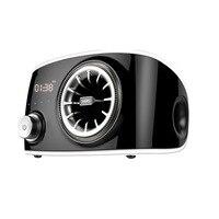 LEORY Multimedia Touch Control Bluetooth Speaker 360 Degree Rotating Wood Grain Wireless FM Radio Alarm Speaker