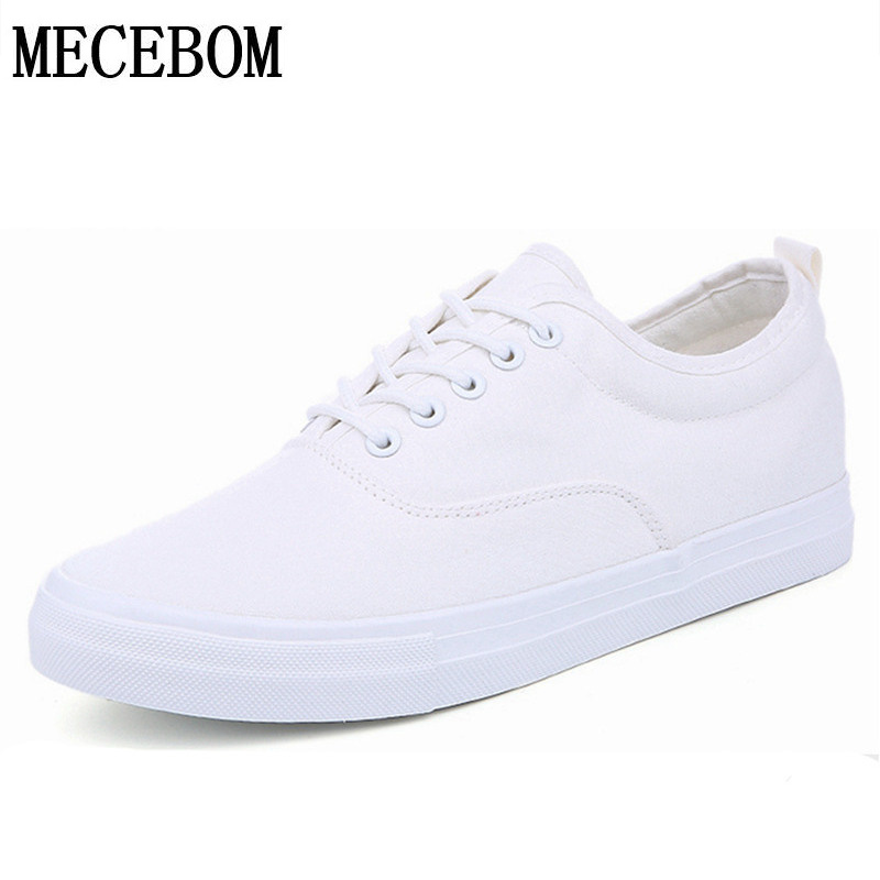 Hot Sale Men Black White Canvas Shoes Fashion Spring Summer Casual Men Shoes Lace-up Breathable Men Sneakers size 39-44 a573m mycolen spring summer hot sale breathable comfortable casual shoes men canvas shoes for men lace up trend fashion flat shoes