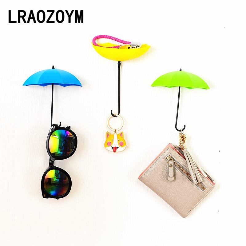 LRAOZOYM 3Pcs/Set Umbrella Shaped Creative Key Hook Bathroom Accessories Kitchen Props Home Decoration LR016