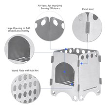 Folding Wood Stainless Steel Stove Ultralight Outdoor Camping Backpacking Survival Firewood Cooking System Burning