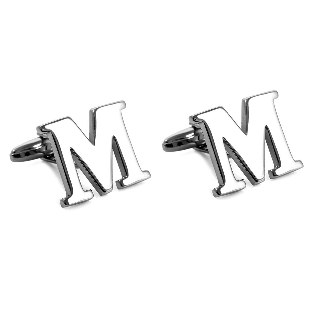 2 Piece Silver Twins Silver Letter M Initials Shirt Alliances Wedding Business 1 Pair Male
