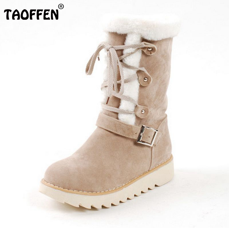 Size 33-43 Winter Warm Snow Boots Flats Mid Calf Platform Boot Shoes Woman Half Thickened Fur Plush Cotton-Padded Shoes double buckle cross straps mid calf boots