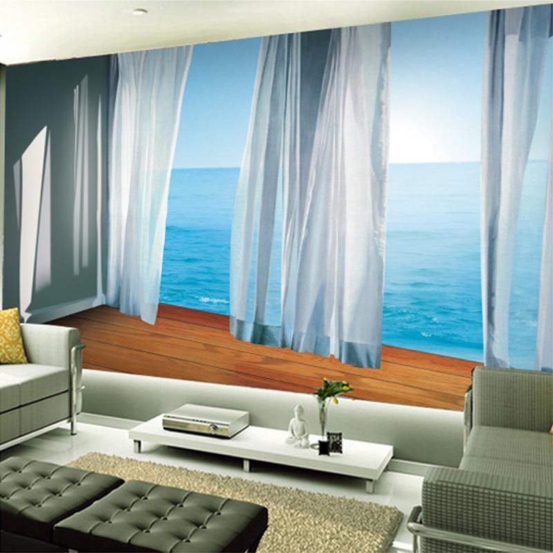 Custom Modern 3D Realistic Curtains Mural Wallpaper Living Room Sofa  Background Wall Covering Mediterranean Landscape Wallpaper