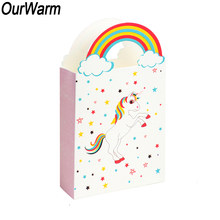 OurWarm 50/100pcs Unicorn Gift Bags with Handles Paper Chocolate Candy Box Packing Pouches Baby Shower Birthday Party Decoration(China)