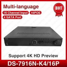 ХИК многоязычная DS-7916N-K4/16 P 16 Канала, H265, с 4 К резолюции 4 интерфейс SATA NVR для CCTV Камеры