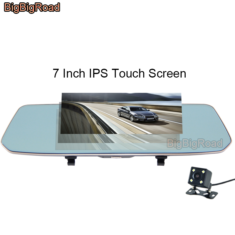 все цены на BigBigRoad For jaguar XF XJ XE S-TYPE F-PACE X-TYPE XK Car DVR Dash Camera Video Recorder 7 Inch Touch Screen Rear View Mirror онлайн
