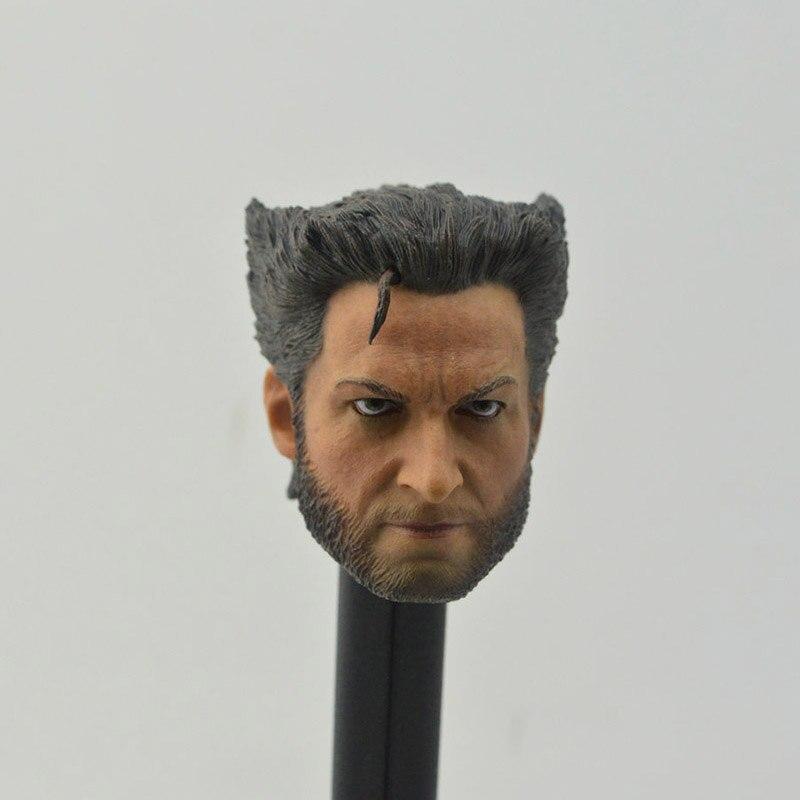 1/6 Scale Hero Wolverine 3 Hugh Jackman no neck Fierce version Bearded Head Sculpt Headplay for 12 Action Figure Body