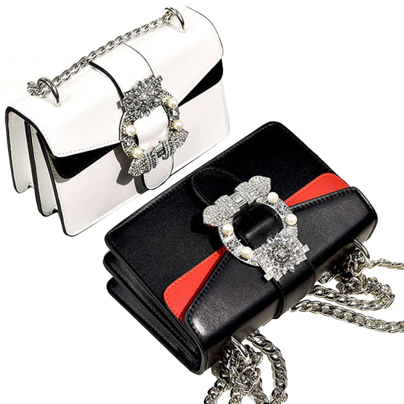 2018 Women Brand Desinger Rhinestones Leather Shoulder Bags Small Crossbody Bag with Chain Girls Ladies Bags Bolso Mujer party feral cat ladies hand bags pvc crossbody bags for women single trapeze shoulder bag dames tassen handbag bolso mujer handtassen