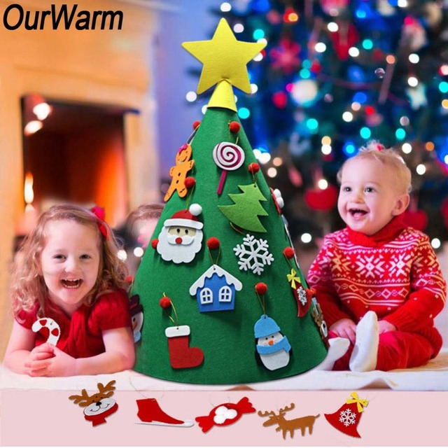 OurWarm 3D DIY Felt Christmas Tree For Toddlers Santa Christmas Tree Decorations for Kids New Year 2019 Party Home Decoration