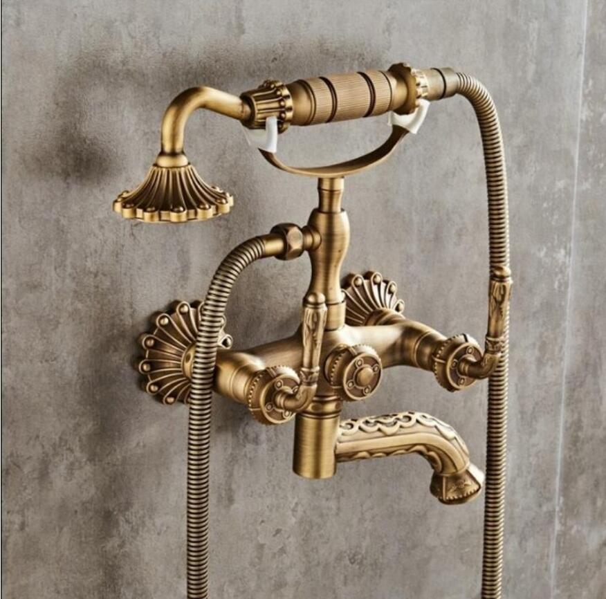 купить Bathtub Faucets Wall Mounted Antique Bronze Carved Bathtub Faucet With Hand Shower Bathroom Bath Shower Faucets Torneiras по цене 9829.04 рублей