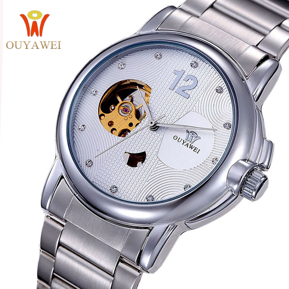 OUYAWEI Mechanical Watches Men Skeleton Watch Automatic Mechanical Mens Watches Waterproof Self-winding Clock Stainless Steel ks golden stainless steel case automatic mechanical movement analog leather strap men self winding casual watches ks172