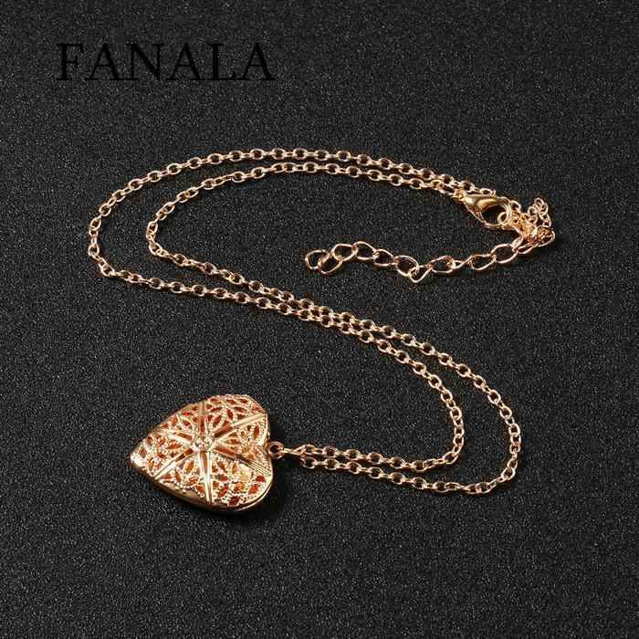 Necklace Hollow Love Heart Open Able Pendant Long Link Chain Women