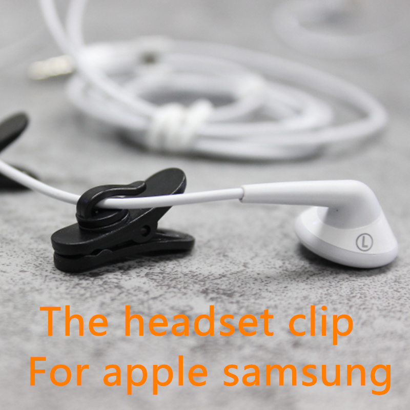 2pcs black and white 360 degree Lapel Collar Clips for Headphone font b Cable b font