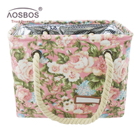 Aosbos Fashion Women Floral Cosmetic Bags Large Capacity Makeup Bag Portable Travel Toiletry Bag Organizer Maleta