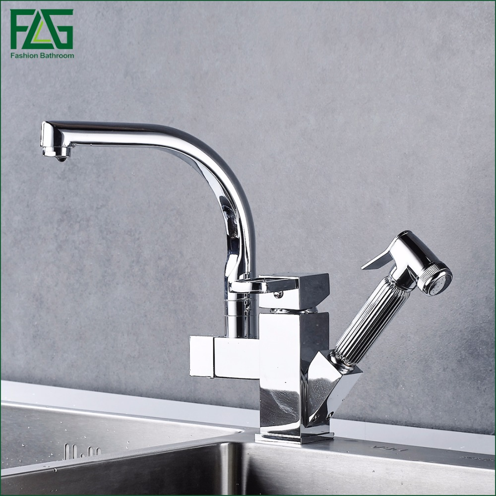 FLG Free Shipping Pull Out Faucet Chrome Silver Swivel Kitchen Sink Mixer Tap Kitchen Faucet Single Handle Two Spouts 303-33C chrome kitchen sink faucet solid brass spring two spouts deck mount kitchen mixer tap
