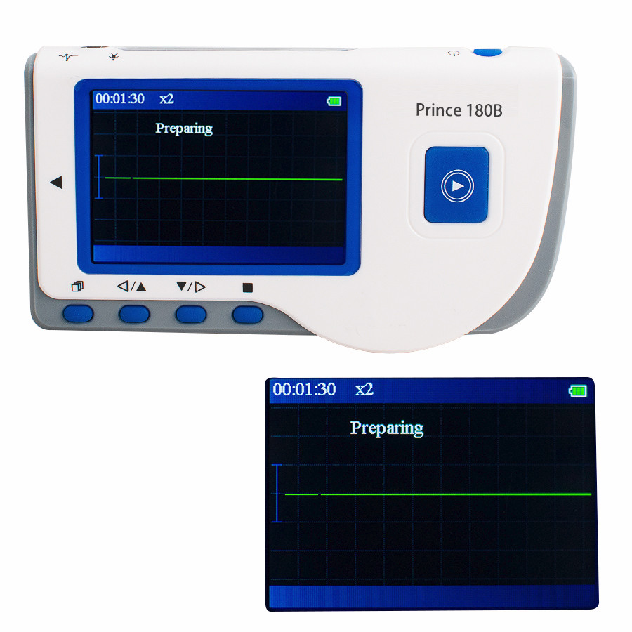 Portable And Easy To Operate Prince 180B Handheld Electrocardiogram LCD Screen ECG EKG Portable Monitor CE health care ce easy handheld ecg ekg portable mini pc 80b lcd heart ekg monitor continuous measuring function usb