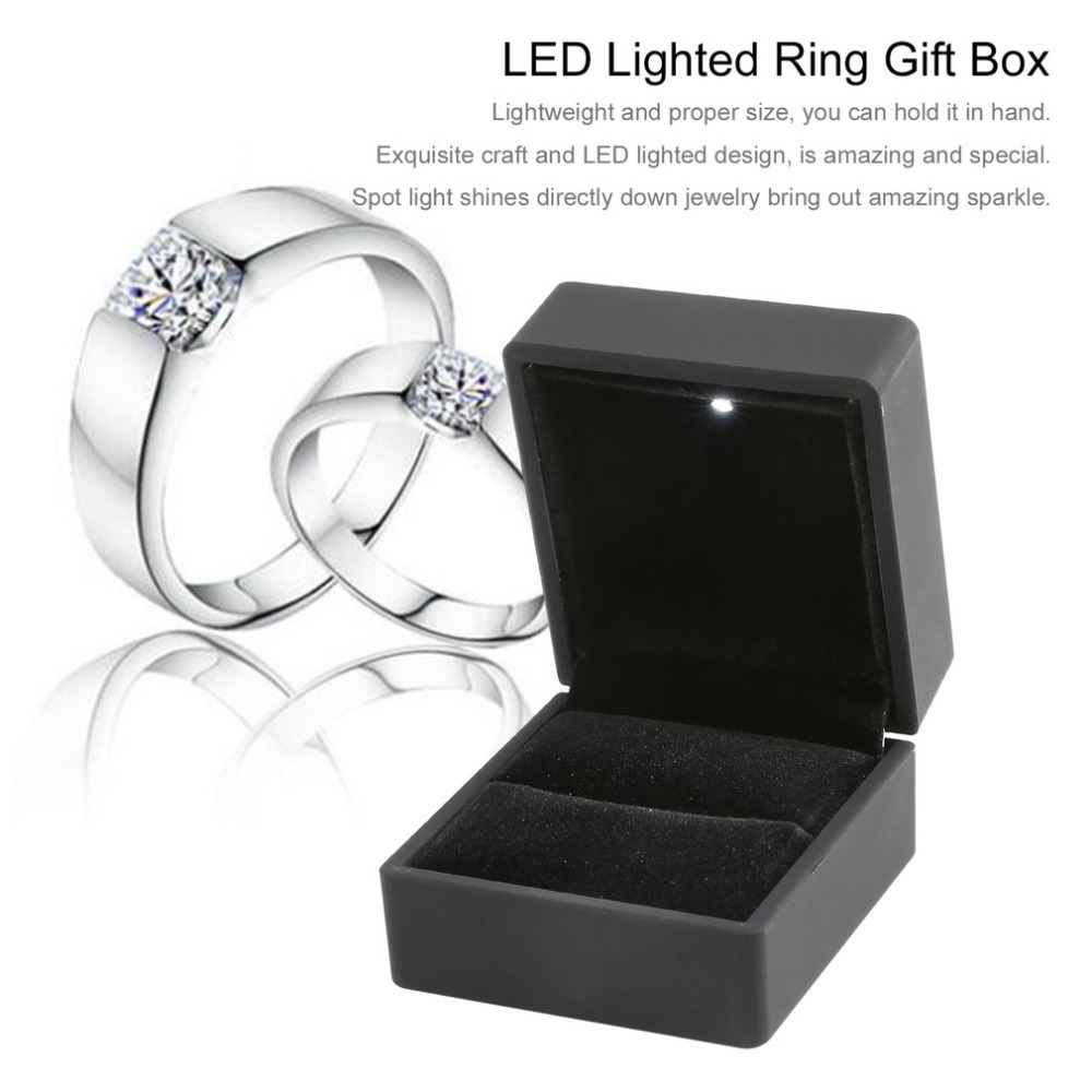 LED Lighted Earring Ring Gift Box Wedding Engagement Ring Jewelry Display Packaging Organizer Storage Black/Blue