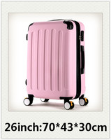 26 Inch Luggage Trunk Women Trolley Case Caster Student Suitcase Rolling Luggage Hard Box Password ABS