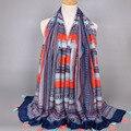 A ordem DA MISTURA design Menina printe geométrica stripe bohemian xales de algodão borlas cor muçulmano hijab viscose wraps lenços/cachecol