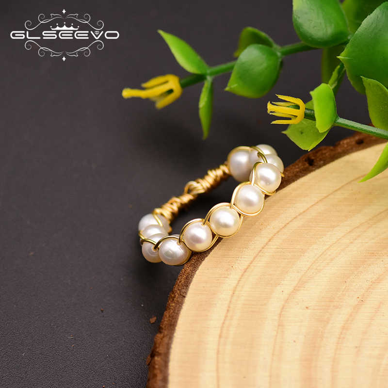 GLSEEVO Handmade Natural Baroque Fresh Water Pearl Rings For Women Wedding Party Custom Engagement Ring Fine Jewellery GR0242