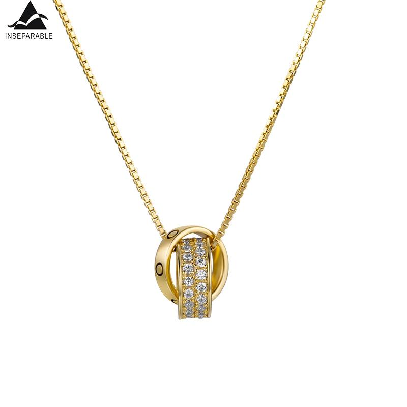 Herrlich Untrennbar Heißer S925 Sterling Silber Anhänger Halsketten Aaa Cz Mosaik Zirkon Link Halskette Runde Form Für Frauen Mode Schmuck