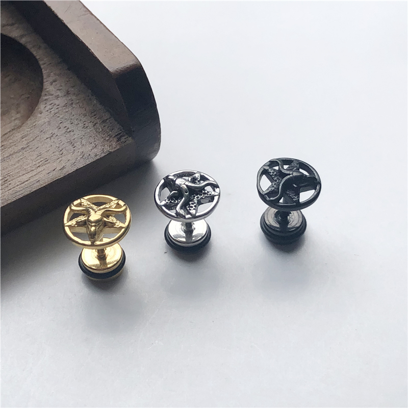 UVW160 2pc Titanium Geometric Gothic Beach Accessories Earrings for Women Men Stud Earrings Helix Piercing Pendientes Brincos