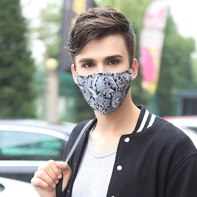 Korean Cotton Black Mouth Masks For Man With Filter Pollution Dust Cloth Mask Face Washable Reusable Mouth Cover 3