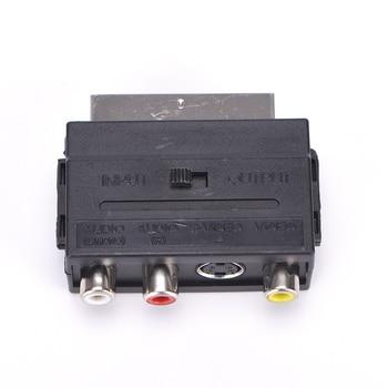 Wysokiej jakości 21 szpilki SCART wtyk męski na 3 RCA żeńskie AV TV Audio wideo adapter Converter