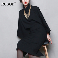 RUGOD 2018 Newest Women Woolen Sets Female Long Sleeve Turtleneck Batwing Sleeve Top and A Line Bottoming Dress 2 Two Piece Suit