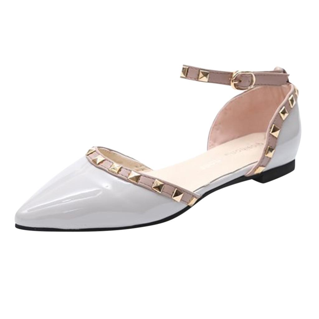 YOUYEDIAN Women's Women Shoes 2019 Rivet Buckle Strap Fashion Casual Rivet Buckle Strap Sandals Pointed Toe Low Heels Shoes #G3