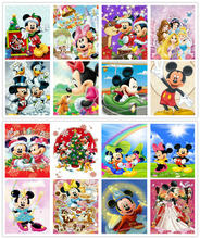 Full square round drill 5d diamond painting Mickey & Minnie mouse icon diamond embroidery cartoon children room decoration gift(China)