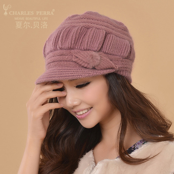 Women Knitted Winter Double Layer Ear Protection Casual Wool Women's Beanie 1