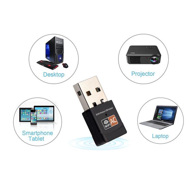 600Mbps USB Mini Wireless WiFi Adapter 2.4GHz 5GHz WiFi Antenna