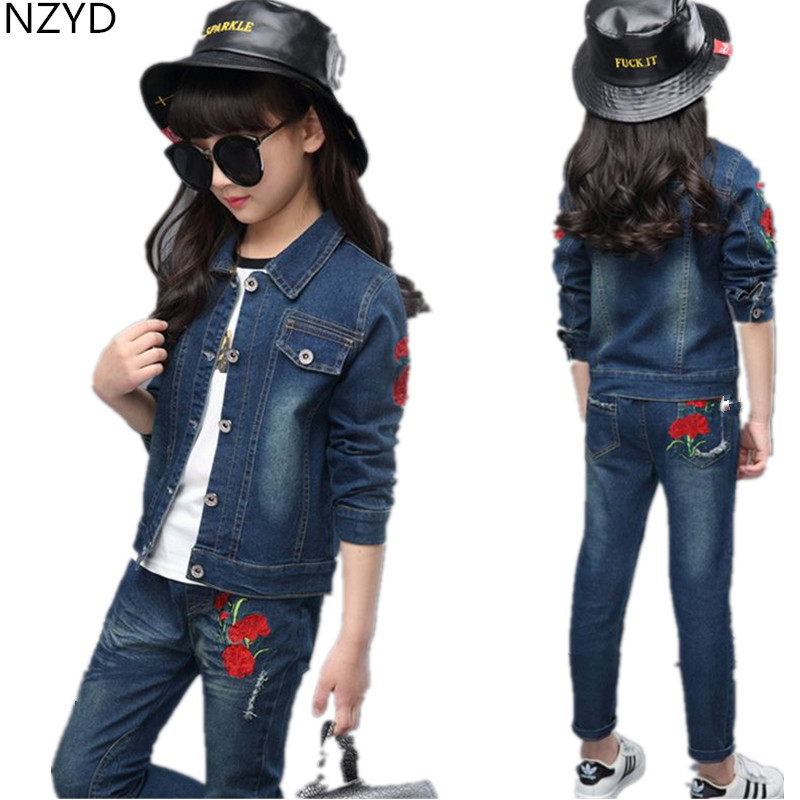New Girl Spring Autumn Children's Clothing Suit 2017 Cowboy Jacket Coat + Jeans Casual Fashion Kids Clothes 2PSC Set DC499 цены онлайн