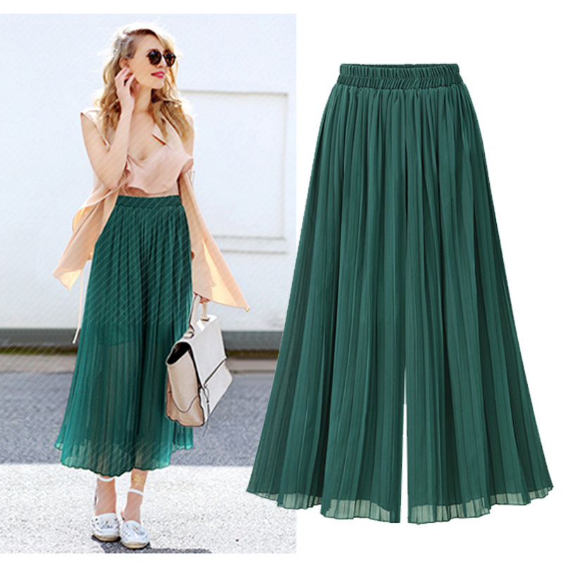 2018 New Spring Pleated Skirt Chiffon Nine Wide Leg Pants Temperament Elegant Women Wide Leg Pants Women Clothing