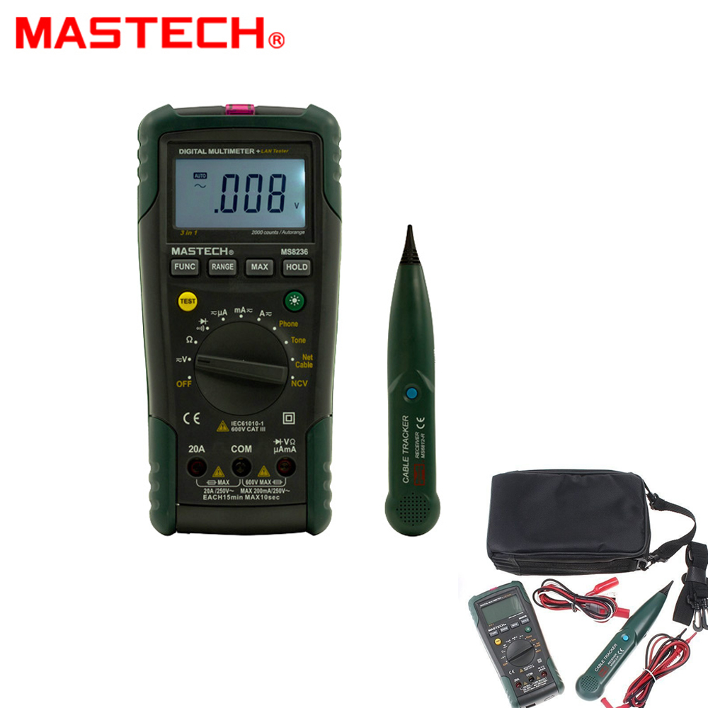 MASTECH MS8236 Auto Range Digital Multimeter LAN Tester Net Cable Tracker Tone Telephone line Check Noncontact Voltage Detect