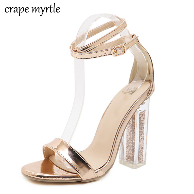 b679118a07b5a9 gold high heels sandals Ankle Strap summer shoes women sandals Peep Toe  pumps Chunky Heels sandalias mujer jelly sandals YMA234