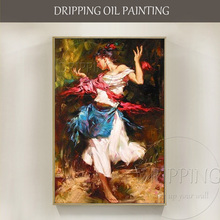 Professional Artist Handmade High Quality Classical Dancer Oil Painting on Canvas Lady
