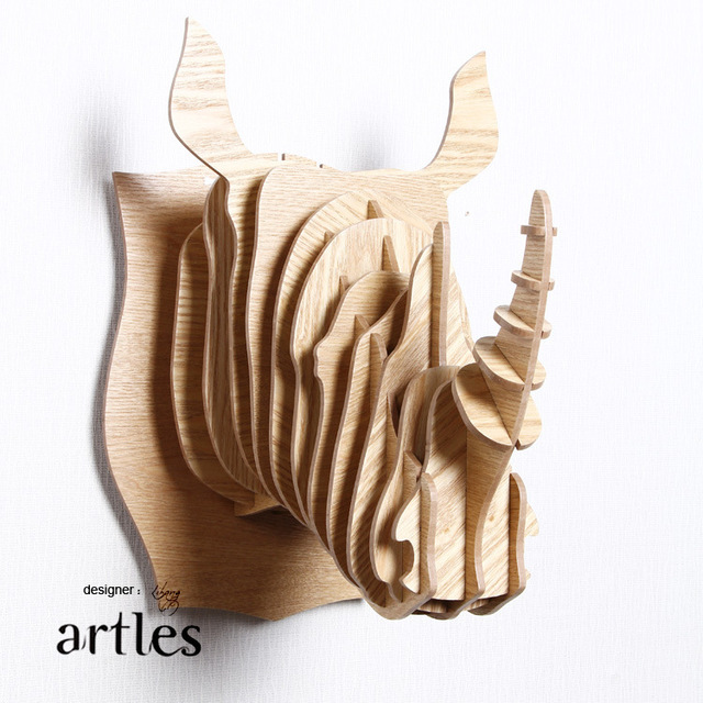 Indian Style Rhino Head Wall Decor Diy Wooden Animal Craft Creative