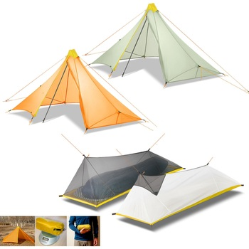 1 Person 3/4 Season Ultralight 20D Nylon Both-side Silicon Coated Rodless Pyramid 410G Flysheet& Summer 230-260g Mesh Inner Tent double 20d silicon coated four seasons ultra light camping outdoor tent