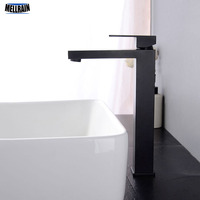 Simple Square Black Bathroom Tap Soild Brass Basin Faucet Single Hole Deck Mounted High Quality Chrome Bathroom Water Mixer