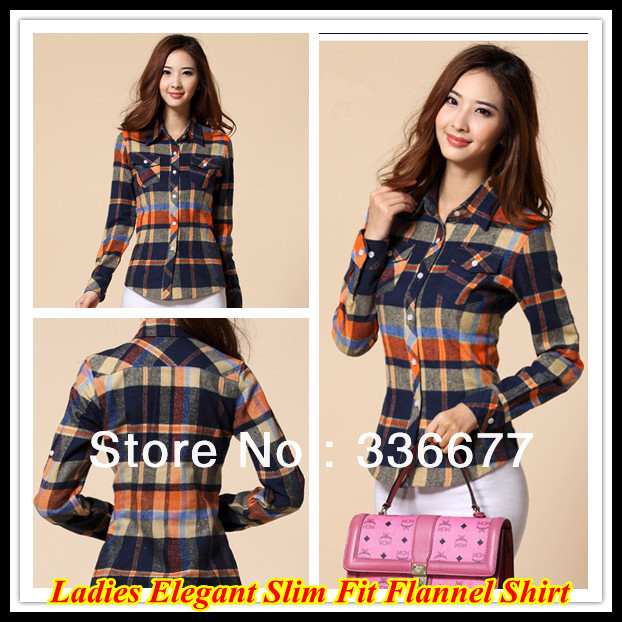 1af9b5c7b4 US $15.99 |Free Shipping Ladies 2013 Korea Style Slim Fit Aligned Check  Shirts Pure Cotton Long Sleeve Shirt QR 4796-in Blouses & Shirts from  Women's ...