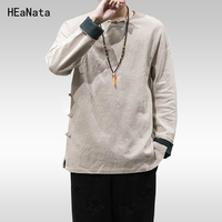 Cotton Linen Men's Hanfu Clothing 2018 Men Tops Tees Male Fashion T Shirts Long Sleeved Home Linen T shirt Loose Plus Size 5XL
