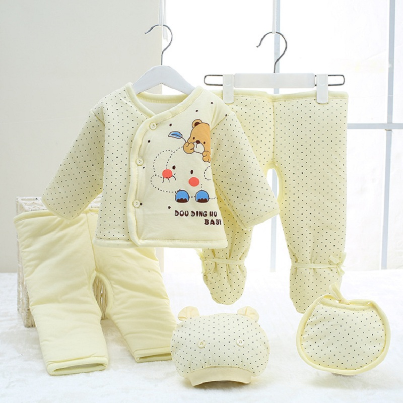 5 PCS Set Children Autumn & Winter Newborn Baby Girl Clothes Infant Clothing Thicken Cotton Baby Boy Clothing Set For Baby Born 2pcs set cotton spring autumn baby boy girl clothing sets newborn clothes set for babies boy clothes suit shirt pants infant set