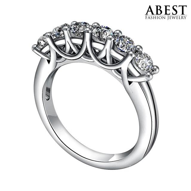 Звездное Преувеличены Моды Сона CZ Бриллиантовое Кольцо Бурения Ряд Platinum Покрытием Обручальное Кольцо Женщины Обручальное Свадебные Полосы Кольца